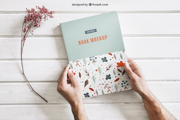 Book Mock Up With Hands Free Psd File