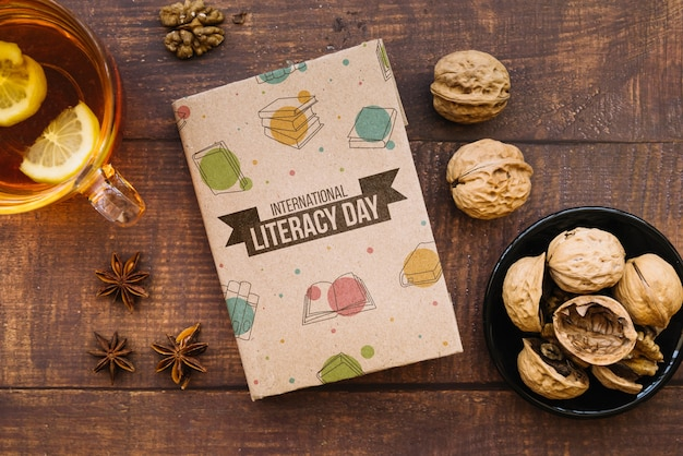 Book mockup for literacy day Free Psd