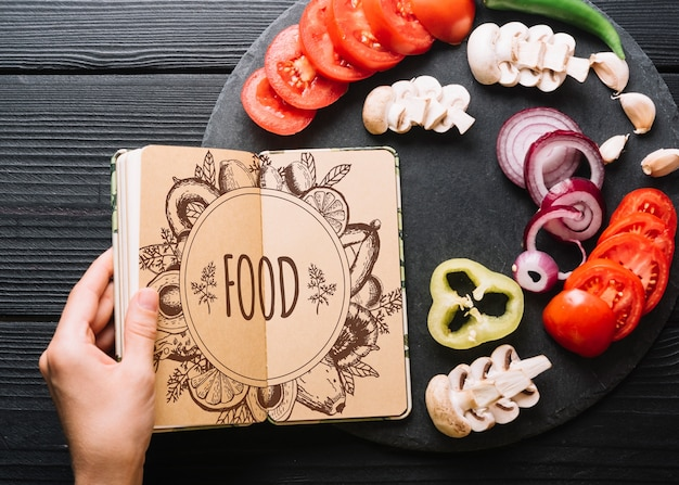 Book mockup with food concept Free Psd