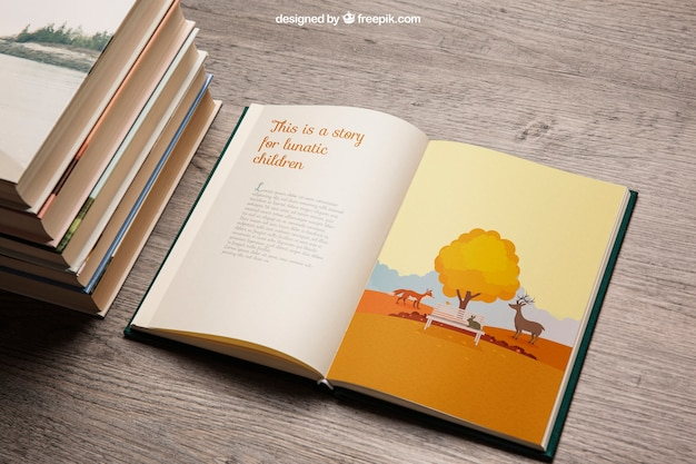 Book mockup with pile Free Psd