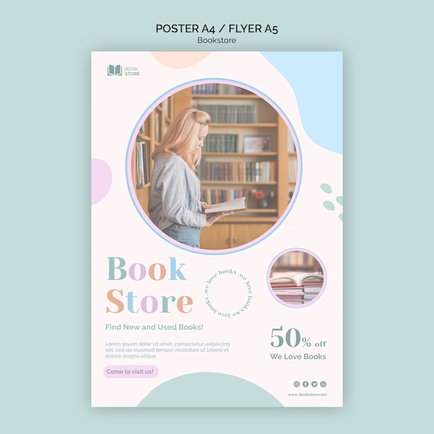 Bookstore ad flyer template Free Psd