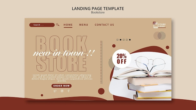 Bookstore ad landing page template Free Psd