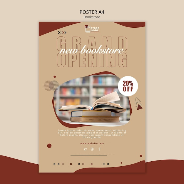 Bookstore ad poster template Free Psd
