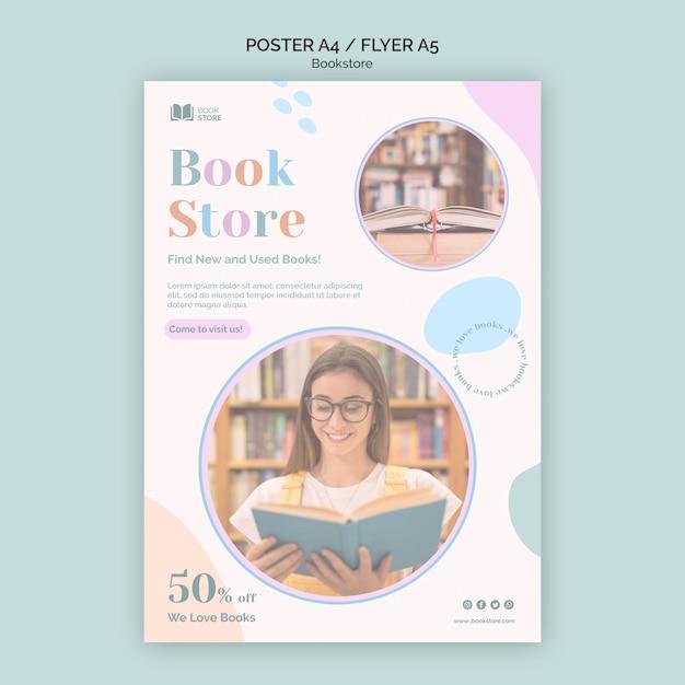 Bookstore modello di poster pubblicitario Psd Gratuite