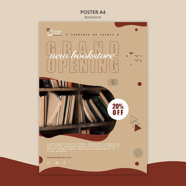 Bookstore ad template poster Free Psd