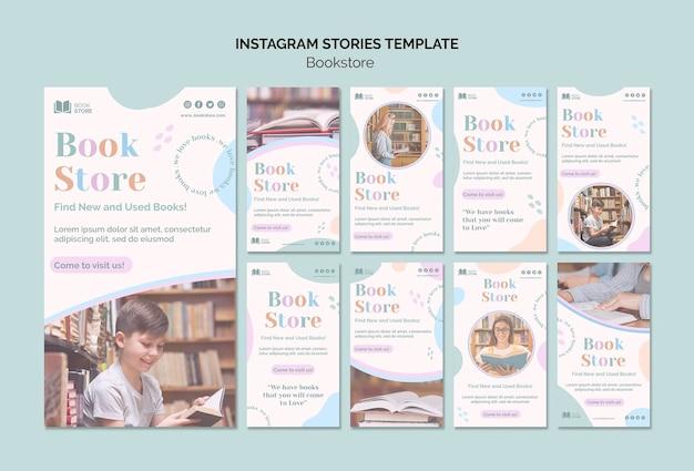 Bookstore instagram stories template Premium Psd