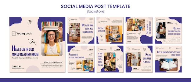 書店のソーシャルメディア投稿テンプレート Premium Psd