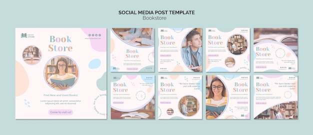 Bookstore social media post template Premium Psd