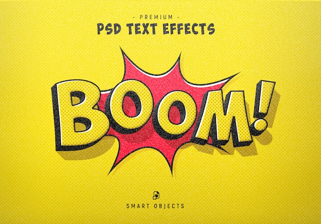 Генератор текстовых эффектов в стиле комиксов boom Premium Psd