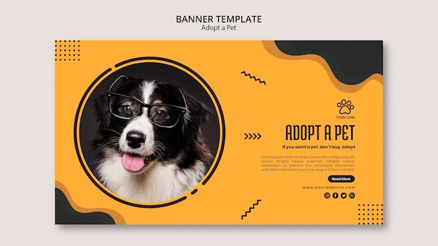 Border collie dog with glassesbanner template Free Psd