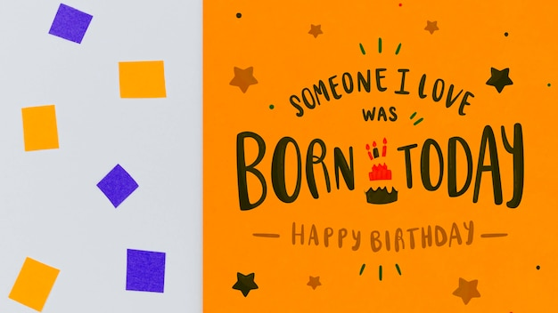Born today with confetti and abstract geometric shapes Free Psd