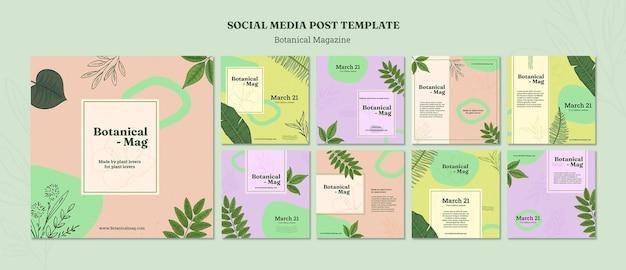 Botanical magazine instagram posts template Free Psd