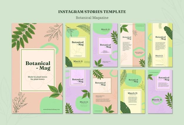 Botanical magazine instagram stories template Free Psd