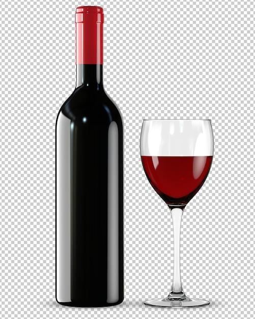Бутылка и бокал красного вина Premium Psd