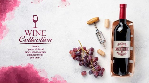 Бутылка вина на столе Premium Psd