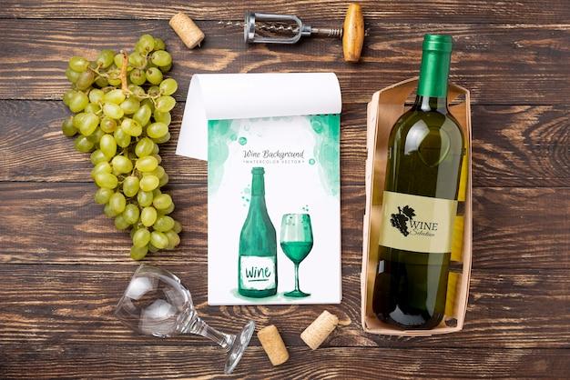 Бутылка вина со стеклом Бесплатные Psd
