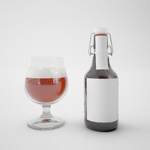 Бутылка с пустой этикеткой и стакан с напитком Бесплатные Psd