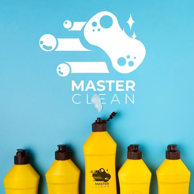 Bottles filled with detergent master clean mock-up Free Psd