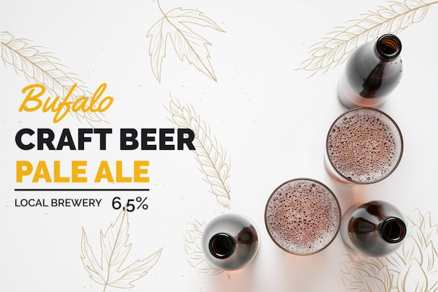 Bottles and glasses of craft beer Premium Psd