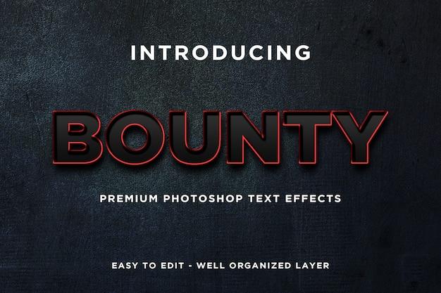 Bounty black red text effect mockup premium psd Premium Psd