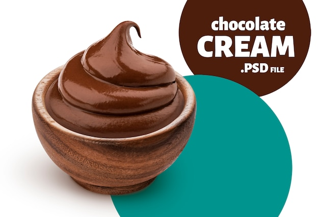 Bowl of chocolate cream Premium Psd