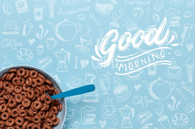 Bowl with chocolate cereals on table Free Psd