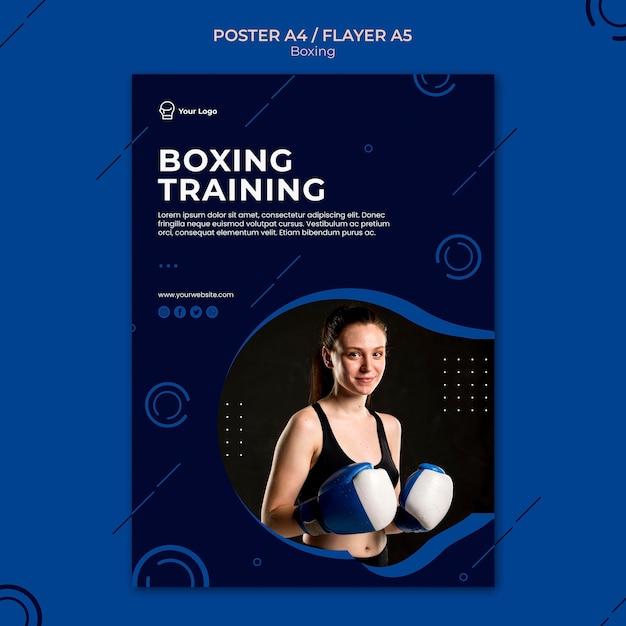 Шаблон плаката спортивной тренировки коробки тренировки Бесплатные Psd