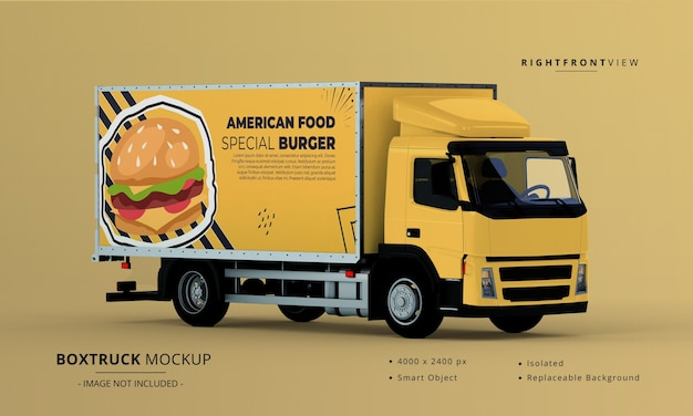 Box truck car mockup right front view Premium Psd
