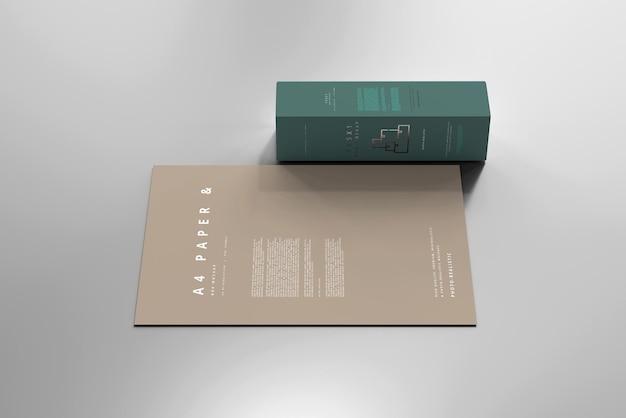 A4 용지 모형이있는 상자 무료 PSD 파일