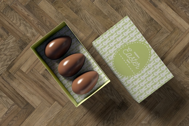 Box with chocolate eggs for easter Free Psd