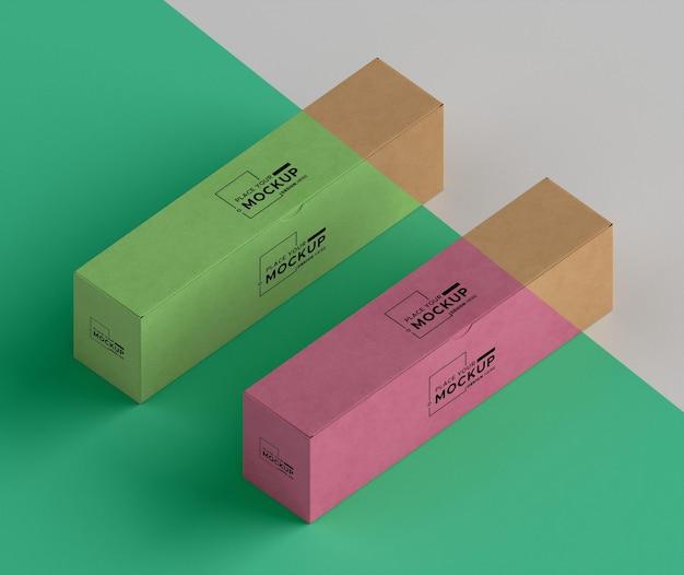 상자 배열 높은 각도 무료 PSD 파일