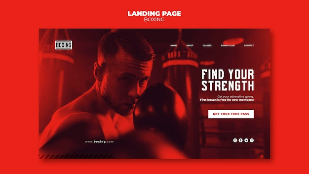 Boxing ad landing page template Free Psd