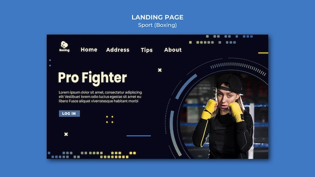 ボクシング広告のランディングページテンプレート 無料 Psd
