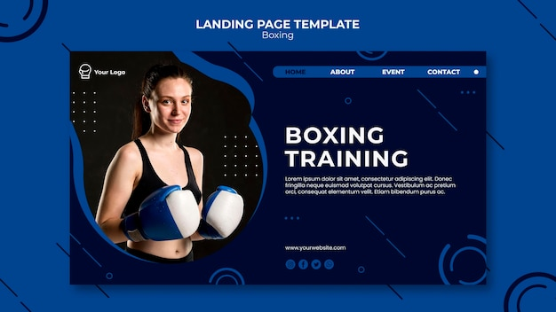 Целевая страница для бокса и тренировок Бесплатные Psd