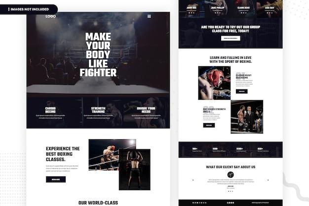 ボクシングクラスのウェブサイトのページデザイン Premium Psd