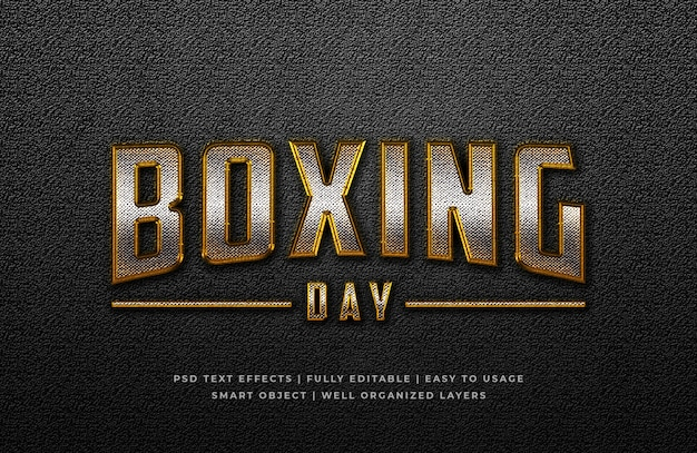 Boxing day 3d text style effect Premium Psd