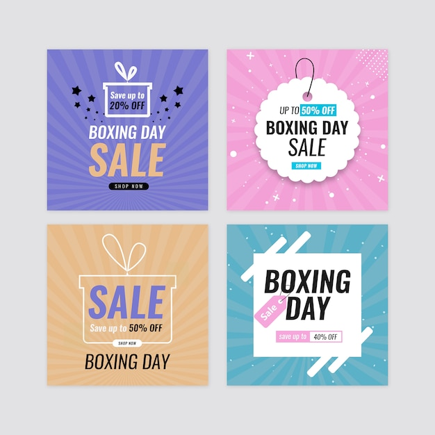 Boxing day sale banner set Premium Psd