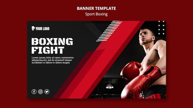 Boxing fight banner web template Free Psd