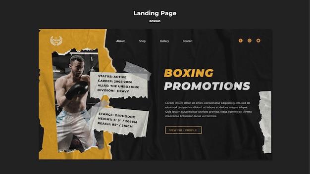 Modello di pagina di destinazione di boxe Psd Gratuite