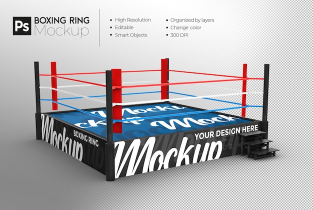 Рендеринг дизайна макета боксерского ринга Premium Psd