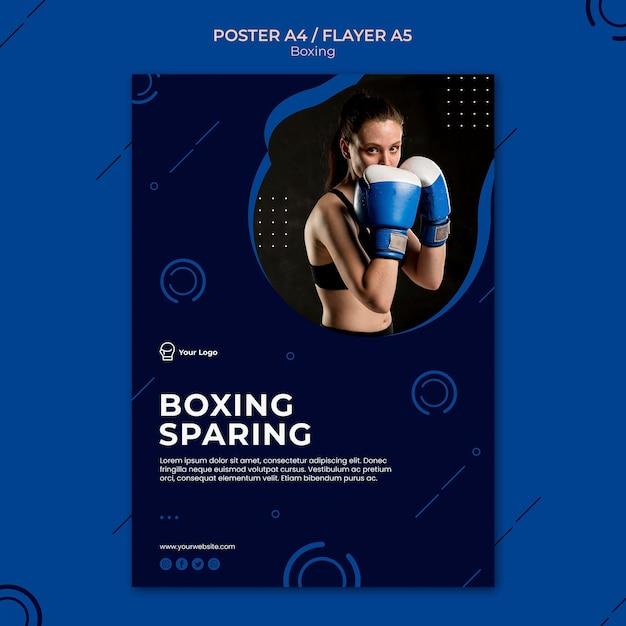Modello di poster di sport di allenamento con risparmio di boxe Psd Gratuite