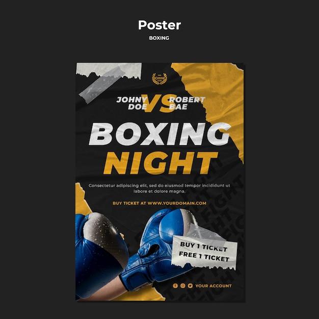 Modello di poster di allenamento di boxe Psd Gratuite