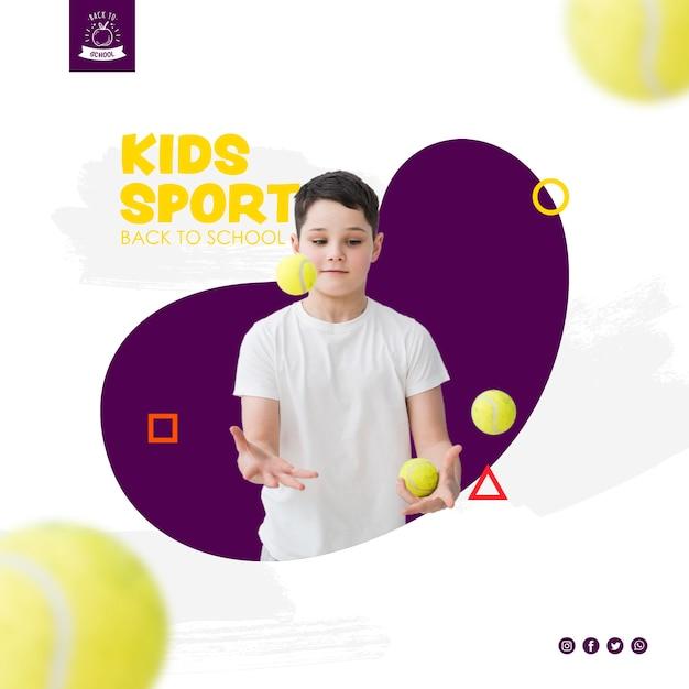 Boy juggling with tennis balls Premium Psd