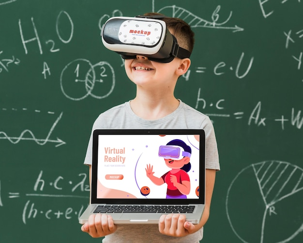 Boy wearing virtual reality headset mock-up Free Psd