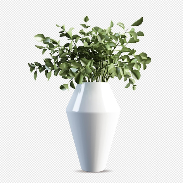 Branchs leaf in vase in 3d rendering isolated Premium Psd