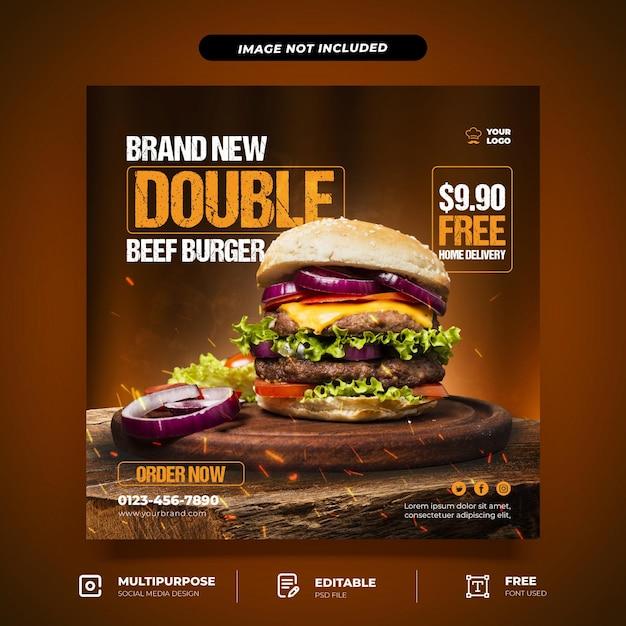 Brand new burger set social media template Premium Psd