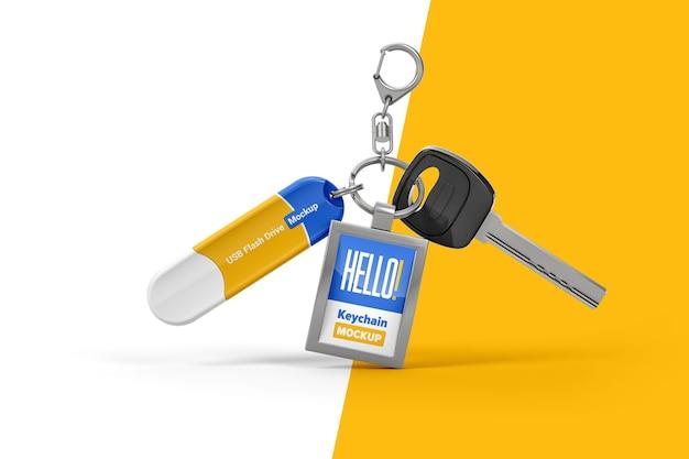 Branded keychain with flash drive mockup Premium Psd