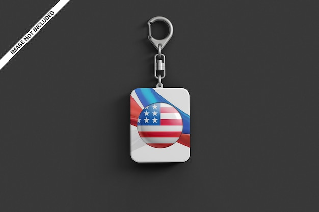 Branded plastic keychain top view scene mockup Premium Psd