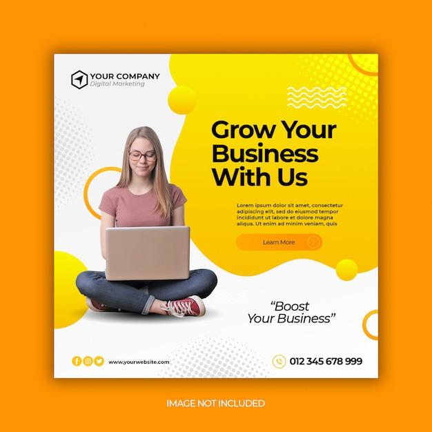 Branding agency corporate social media post banner or square flyer Premium Psd