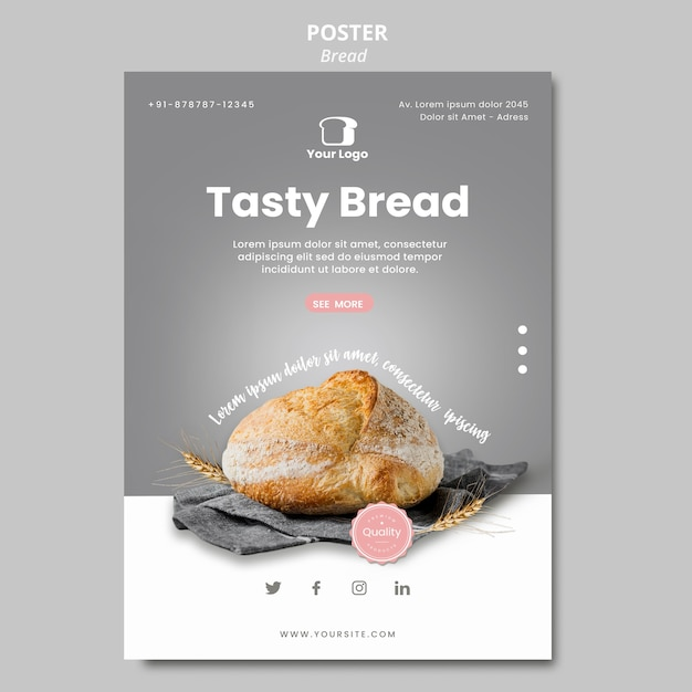 Bread concept poster template Free Psd
